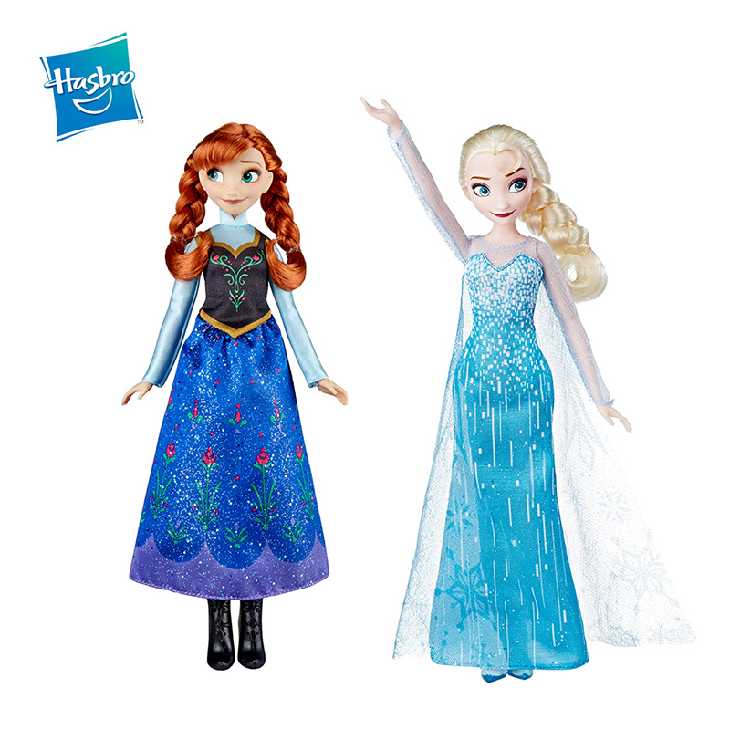Original Hasbro 27cm Frozen Elsa Anna Action Figure Princess Disney Classic Movie Birthday Present Girl Kid Toy Doll Collection