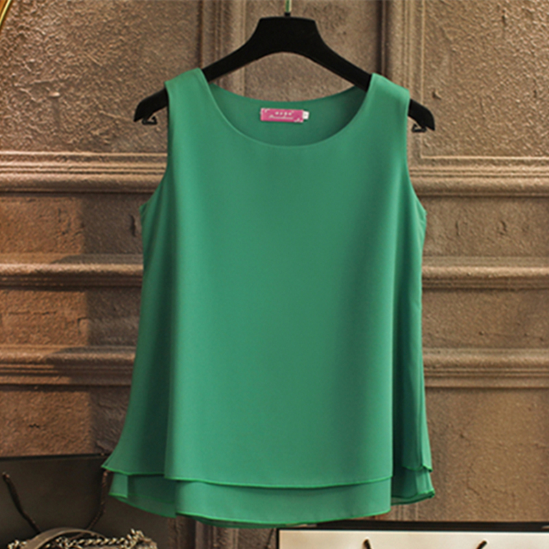 Banerdanni Women   Shirt   2019 New arrival sleeveless Chiffon   Blouse   Summer Casual O-Neck   Blouses   High Quality Women's   blouse