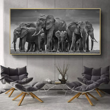 Modern Animals Posters and Prints Wall Art Canvas Painting African Elephant Herd Pictures for Living Room Cuadros Decor No Frame