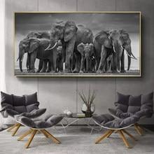 Telas com imagens de animais modernos, posteres e impressões de arte de parede, pintura em tela de elefante africana, decoração para sala de estar, quadros, sem moldura