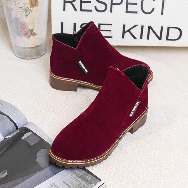 Nowy jesień buty zimowe damskie buty na płaskim obcasie moda utrzymać ciepłe buty damskie marka kobieta kostki Botas wygodne