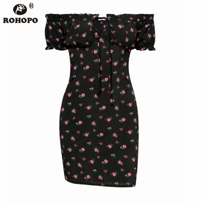 ROHOPO Off Shoulder Rose Floral Women Bodycon Dress Strapless Ruffles Printed Sexy Party Vintage Dress YY337C in Dresses from Women 39 s Clothing