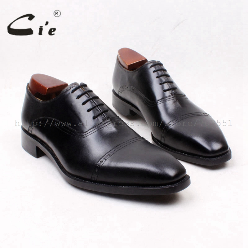 cie Square Cap Toe Lace-Up Solid Black 100%Genuine Calf Leather Outsole Breathable Men's Dress Shoe Goodyear Welted OxfordsOX661 cie square cap plain toe lace up oxfords black 100