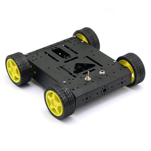 4WD Drive Mobile Robot Platform for Robot Arduino UNO MEGA2560 R3 Duemilanove Black uno shield ethernet shield w5100 r3 uno mega 2560 1280 328 unr r3 only w5100 development board for arduino