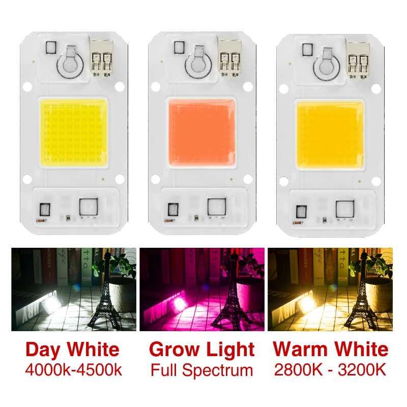 Led rosną Chip ściemniania 50W 30W 20W Fitolamp 220V 110V pełne spektrum 380 ~ 780nm dla roślina cieplarniana rośnie DIY dla wzrostu światła