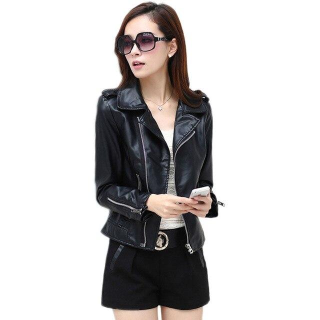bc38df83d4a Plus Size 5XL Artificial Leather Women Jacket Zipper Pocket Chaqueta Cuero  Mujer Pu Suede Faux Black