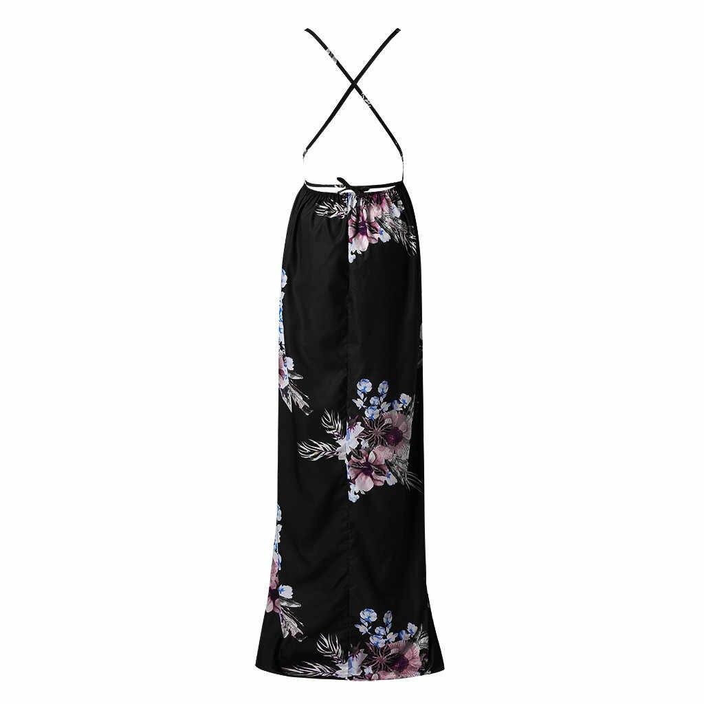 Floral Print Women Long Dress Sleeveless High Split Maxi Summer Dresses For Ladies Sexy Deep V Neck Beach Dress Sukienki Letnie