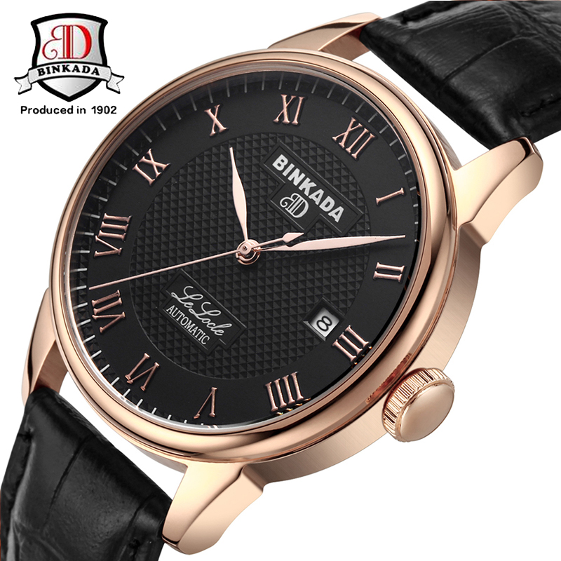 Фотография Top Luxury Brand BINKADA Mechanical Watch Rose Gold Black Leather Strap Male Fashion Casual Wrist Watch Relogio Masculino