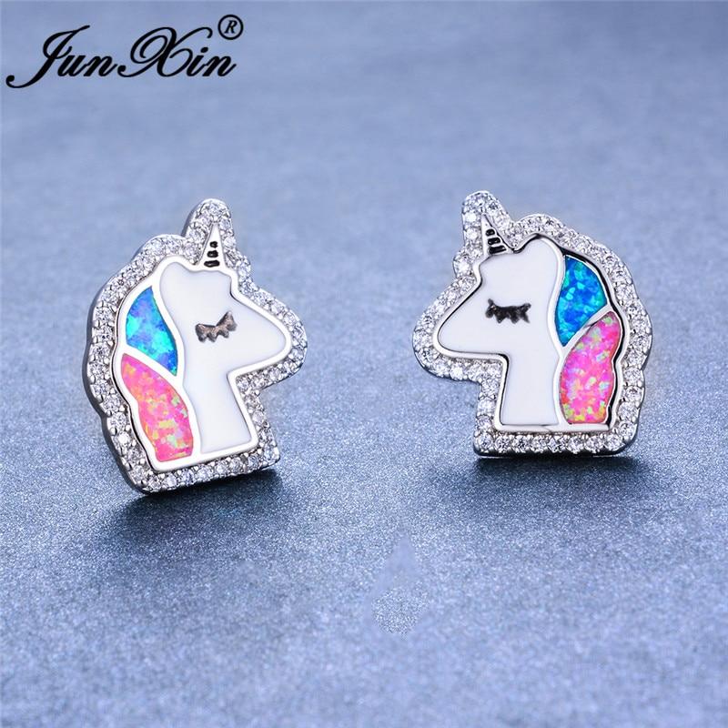JUNXIN Cute Unicorn Horse Head Stud Earrings For Women Silver Color White CZ Blue Pink Green Fire Opal Earrings