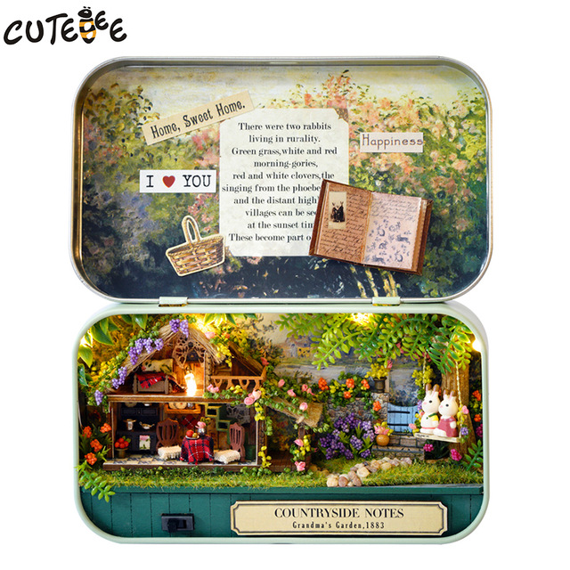 Caixa Cutebee Theatre muebles parágrafo casa de muñecas miniatura casa de juguete de bricolaje muñecas muebles en miniatura v4-v6