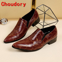 Choudory Italian Shoes Men Leather Patent Slip On Formal Shoes Men Zapatillas Hombre Mens Pointed Toe