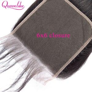 Image 5 - Queenlike مستقيم 6x6 إغلاق كبير حجم الدانتيل السويسري إغلاق قبل قطعها مع شعر الطفل شعري الطبيعي البرازيلي شعر ريمي