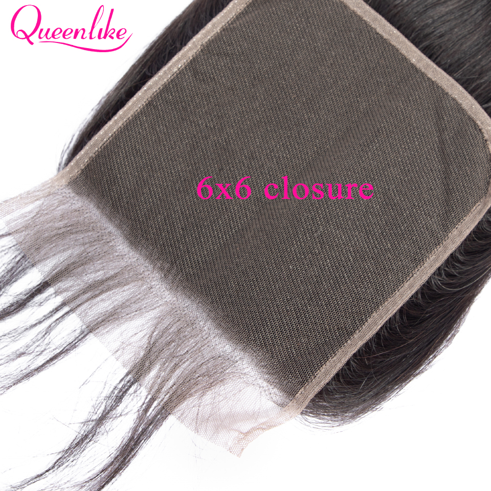 Queenlike Straight 6x6 Closure Big Lace Size Swiss Lace Closure Pre Plucked With Baby Hair Natural Hairline Brazilian Remy Hair