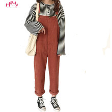 a42c2cc33cba Spring Harajuku Fashion Women Casual Bib Harlan Pants Japanese Cute  Corduroy Rompers Preppy Style Overalls Female Jumpsuits