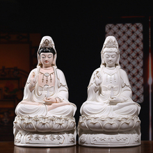 Decorative Bodhisattva Guanyin Porcelain Statues White Buddha Ceramic Sculpture Goddess of Mercy Home Decor Buddhism Style
