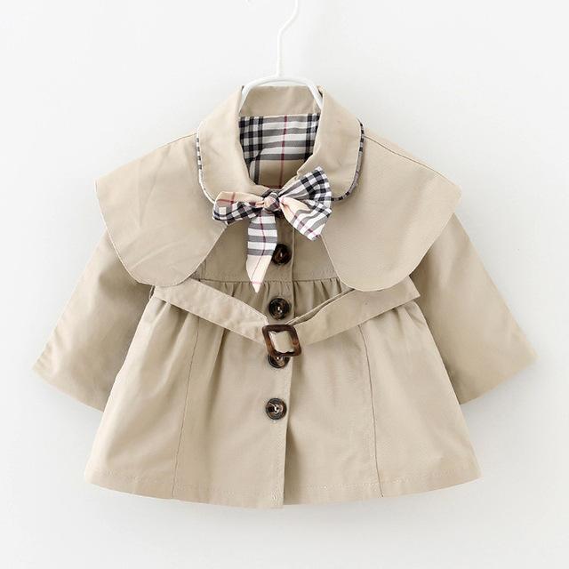 Niños Chaquetas y Abrigos de Primavera Otoño Capa de Las Muchachas Outwear Moda Infantil Cinturón Chaqueta Arco Muchachas Del Desgaste Del Bebé Ropa Casual