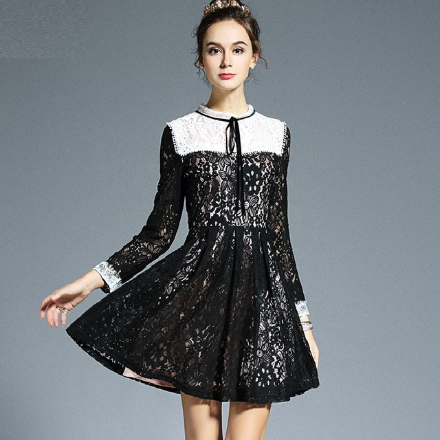 New2016Autumn winte Women plus size elegant empire Lace dress junior cute  flare Dress cultivating party Dress 21e51dcd3ae7