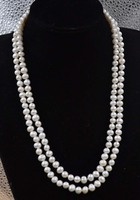 45 Long Natural White Real Freshwater Pearl Necklace Endless