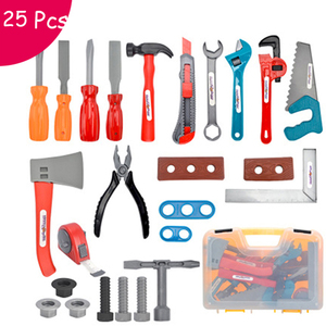 25 Pcs Pretend Play Toy Building Tools Kits Ax Carpentry Construction Instruments For Children Early Educational Set Boys Gifts(China)