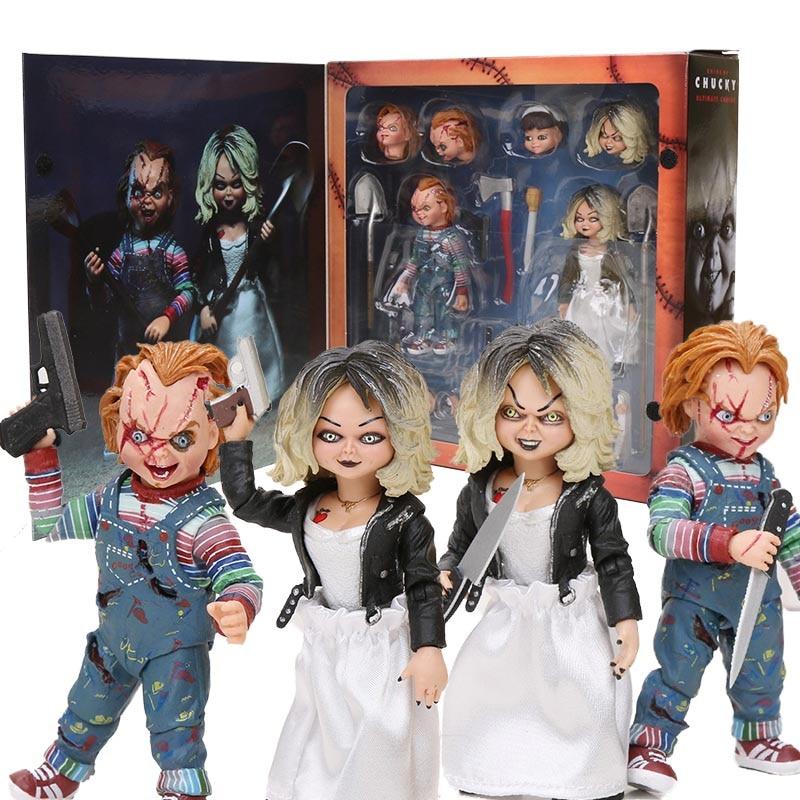 Oyuncaklar ve Hobi Ürünleri'ten Aksiyon ve Oyuncak Figürleri'de NECA Korku Gelin Chucky Rakamlar Ultimate Chucky & Tiffany çocuk Oyuncağı Film Chucky PVC Action figure Bebek Koleksiyonu hediye'da  Grup 1