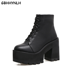 Купить с кэшбэком lace up winter boots with fur women punk boots platform shoes woman wedges high heels ladies motorcycle women ankle boots LJA405