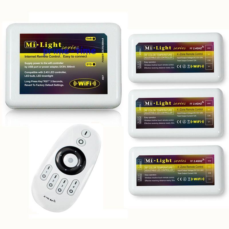 Télécommande + WIFI + 3 x WW/CW LED de contrôle 2.4 Ghz 4 zones smart sans fil RF Touch télécommande pour ampoule de bande LED blanche chaud/froid par téléphone