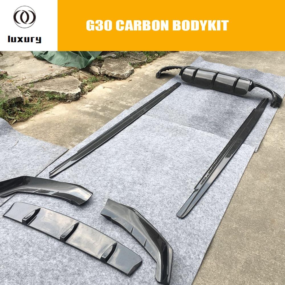 G30 Bodykit De Fibra De Carbono Frente Lip Difusor Traseiro G30 530 540 M com Pacote de Saia Lateral para BMW Auto Racing estilo do carro Do Corpo kit