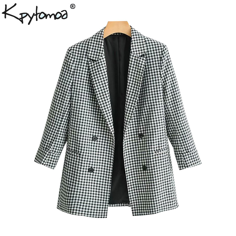 Vintage Chic Plaid Pockets Buttons Blazer Coat Women 2019 Fashion Notched Collar Long Sleeve Outerwear Casual Casaco Femme