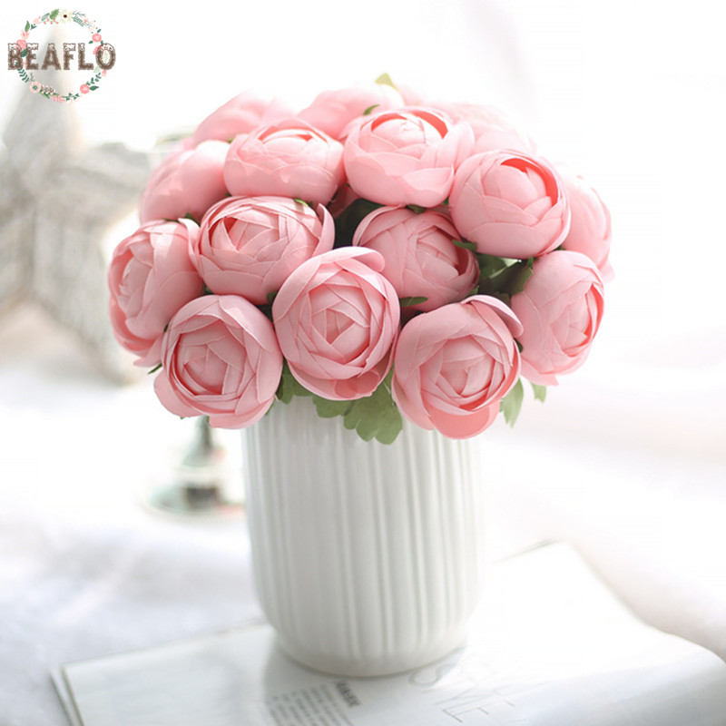 1 Manojo de 7 Cabezas de Flor Artificial Falso Ronda Rose Bouquet Para la Boda H