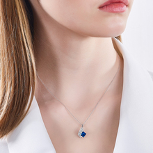 925 Sterling Silver Necklace Embellished with crystals from Swarovski Blue Pendant Necklace