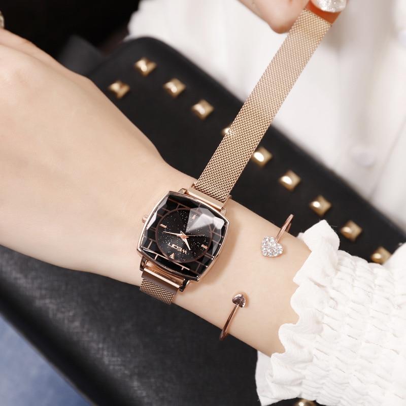 Square Women Wrist Watches Starry Sky Female Clock Magnetic Ladies Quartz Watches Elegant Women Bracelet Watch Montre Femme 2019