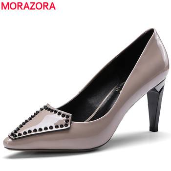 MORAZORA 2019 top quality cow patent leather women pumps pointed toe slip on spring summer party shoes high heels dress shoes