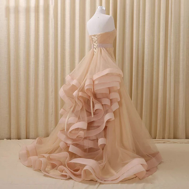 Nude Tiered A line Evening Dresses Long vestido de noiva Modest Design Back  Evening Formal Dress Red Carpet Maxi Gowns Dresses 365ccd69f161