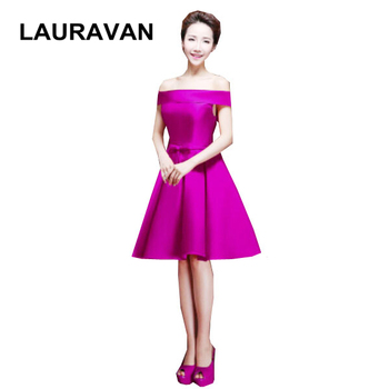 purple and green red boat neck ladies satin bridesmaid dress braidmaid dresses to party short formal dresses free shipping