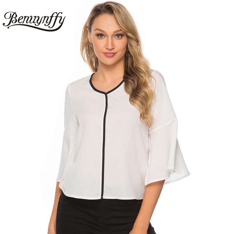 Benuynffy White Contrast Office Lady V-Neck Butterfly Sleeve Chiffon   Blouse     Shirt   Women Summer Elegant Ladies Tops And   Blouses