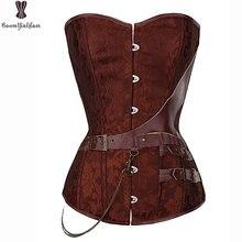 Corset de entrenamiento de cintura con cadena y hebilla decorada, corset de brocado steampunk de talla grande 6xl, corset y corpiño Retro Vintage
