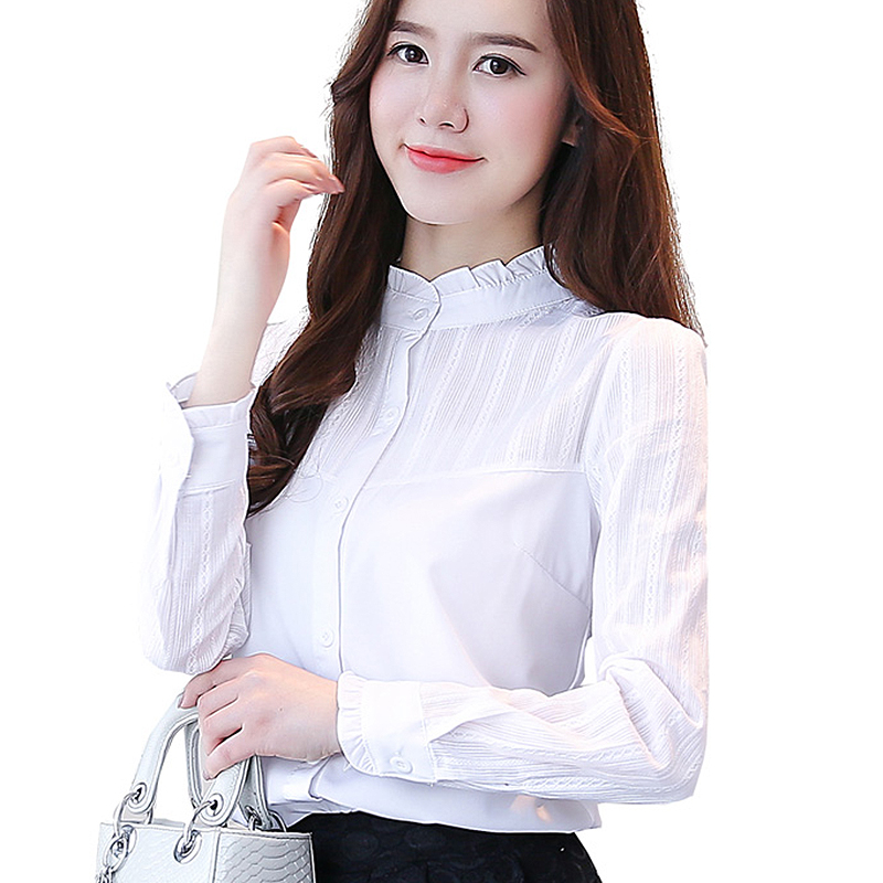 2018 basic white shirts women long sleeve ruffles blouse female plus size women tops office Formal & Casual blusas mujer