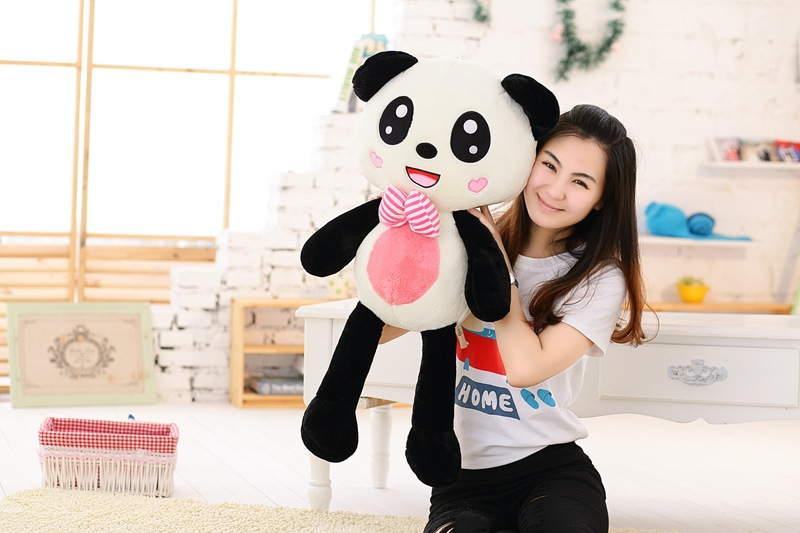 new arrival large 100cm gaint panda plush toy with bowtie soft throw pillow christmas gift b1479 lovely giant panda about 70cm plush toy t shirt dress panda doll soft throw pillow christmas birthday gift x023