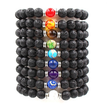 Fashion Chakra Healing Beaded Bracelet Men And Women Same Paragraph Natural Lava Stone Bracelets Jewelry Armbanden Voor Vrouwen цена 2017