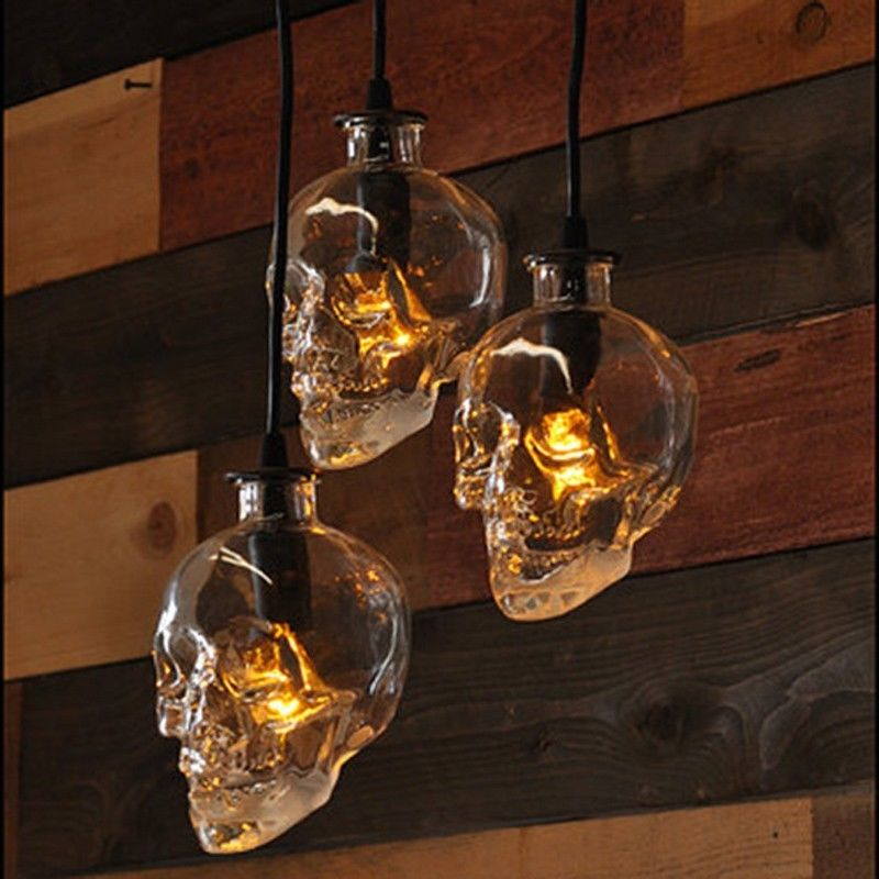 Retro Human Skull Clear Glass Pendant Light Fixture Home Deco Demon Skull Ghost Evil Skeleton Pendant Lamp G9 LED Bulb