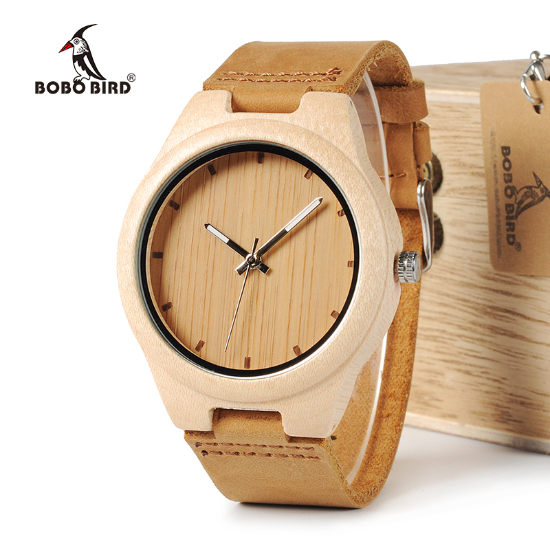 BOBO BIRD WF10 New Maple Wood Watch Pine Wooden Top Brand Luxury Quartz Watches for Men With Gift Box relojes mujer OEM bobo bird brand new wood sunglasses with wood box polarized for men and women beech wooden sun glasses cool oculos 2017