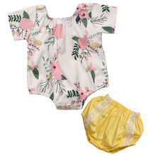 Baby Girls Romper 2017 Summer Floral Infant Baby Girls Romper Short Sleeve O-Neck Rompers Yellow Lace Cotton Outfit Clothes Kid
