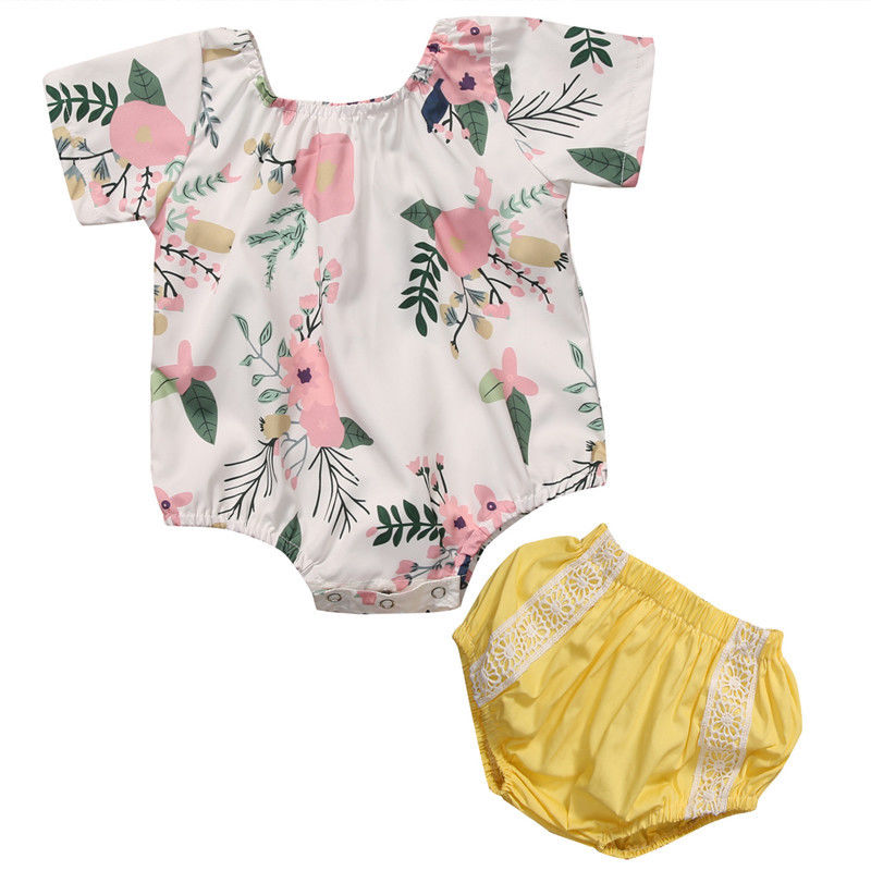 Baby Girls Romper 2017 Summer Floral Infant Baby Girls Romper Short Sleeve O-Neck Rompers Yellow Lace Cotton Outfit Clothes Kid baby rompers o neck 100