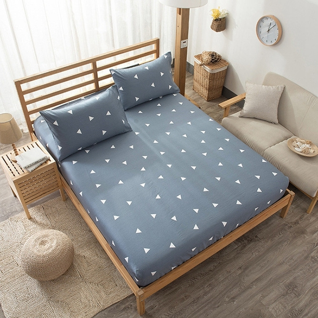 1pcs Cotton Geometric Pattern Fitted Sheet Bedding Mattress Cover Four  Corners With Elastic Band Bedspread Adult
