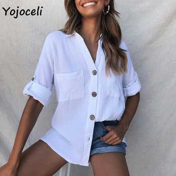 Yojoceli 2019 new spring summer button down shirt blouses women streetwear cotton blouses shirt tops casual female blusas - DISCOUNT ITEM  40% OFF All Category