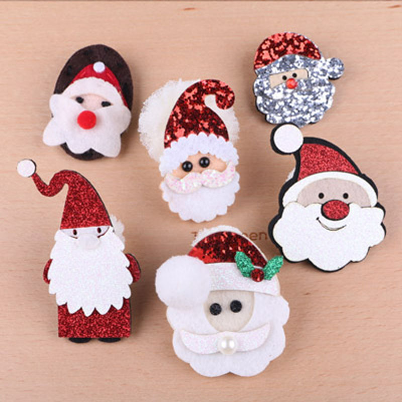 Free Shipping 20pcs Glitter Non Woven Crochet Felt Bling Christmas Santa Clause Button Stickers Girl Headband hair Bow Center 20pcs lot free shipping 5 design diy hair accessory bow flowers pearl buttons alloy rhinestone button bt05