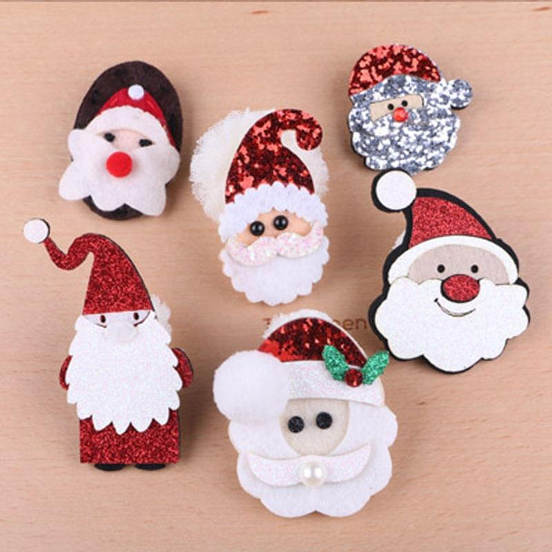 Free Shipping 20pcs Glitter Non Woven Crochet Felt Bling Christmas Santa Clause Button Stickers Girl Headband hair Bow Center