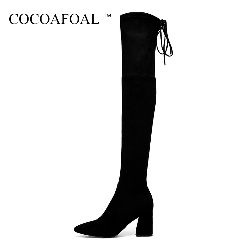 COCOAFOAL Sexy Black Woman High Heeled Shoes Genuine Leather Over The Knee Boots Plus Size 33 40 Winter Chelsea Thigh High Boots cocoafoal women sexy black high heeled shoes genuine leather thigh high boots plus size 33 41 winter chelsea over the knee boots