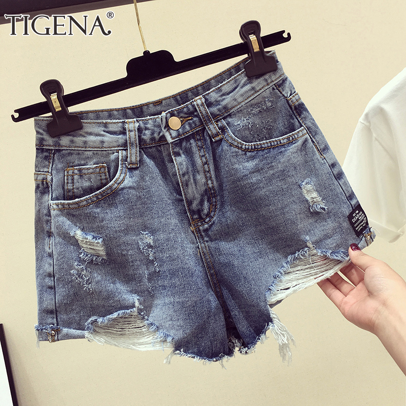 TIGENA Plus Size 5XL Denim   Shorts   Women 2019 Summer High Waist Hole Ripped Jeans   Shorts   Female Femme Sexy   Short   Pants Ladies