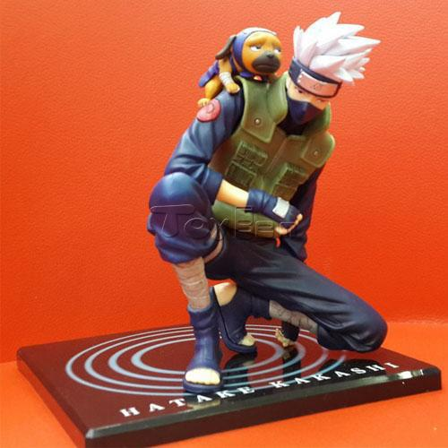 Japanese Anime Naruto 21cm Kakashi with Dog Vest Heads Removable PVC Action Figure Collection Model font